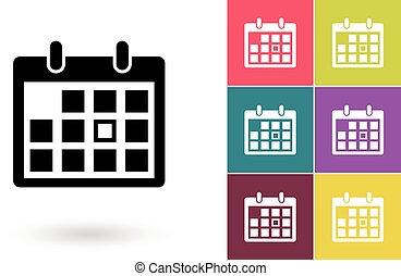 calendario, icono, o, pictogram