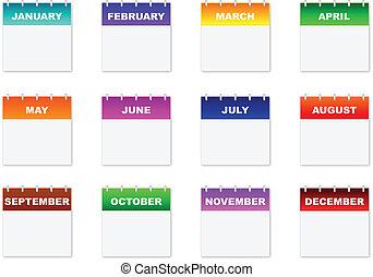 calendario, iconos