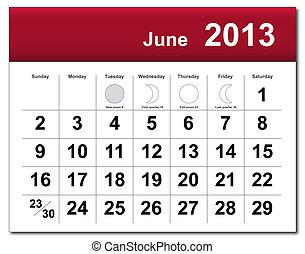 calendario, junio, 2013