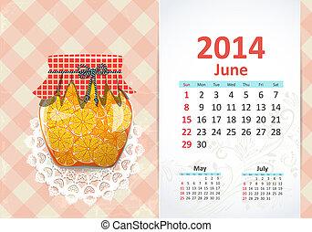 calendario, junio, 2014