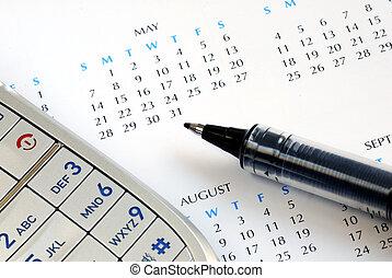 calendario, marca, cita, él, horario