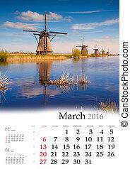calendario, march., 2016.