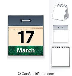 calendario, marzo, 17