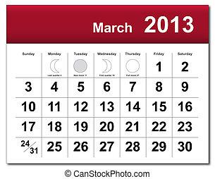 calendario, marzo, 2013