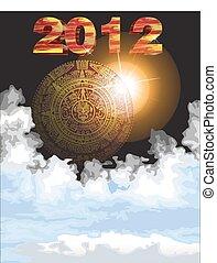 calendario, mayan, illustrazione