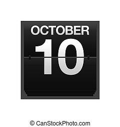 calendario, mostrador, 10., octubre