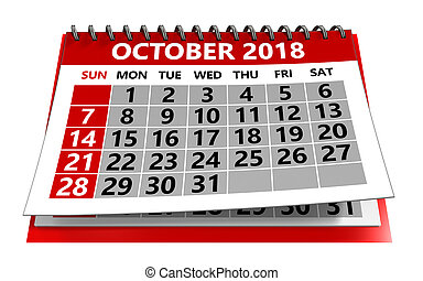 calendario, octubre, 2018