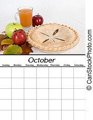 calendario, ottobre, vuoto