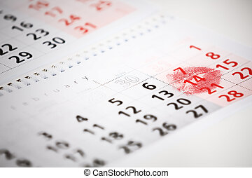 calendario, página, con, el, rojo, beso, en, february 14, de, santo, valentines, day.
