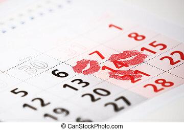 calendario, página, con, el, rojo, besos, en, february 14, de, santo, valentines, day.