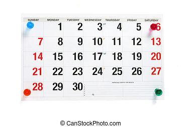 calendario, página, con, pushpins