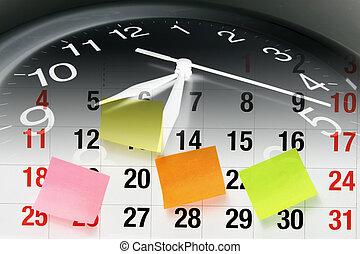 calendario, página, reloj