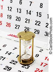 calendario, página, reloj de arena