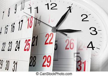 calendario, pagine, e, orologio