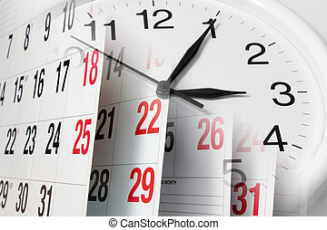 calendario, pagine, orologio