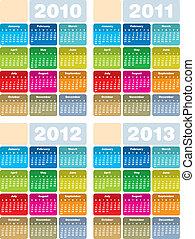calendario, para, 2010, 2011, 2012, y, 2013