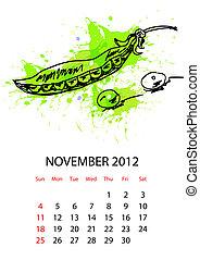 calendario, para, 2012, con, vegetales