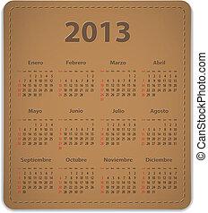 calendario, para, 2013, en, español