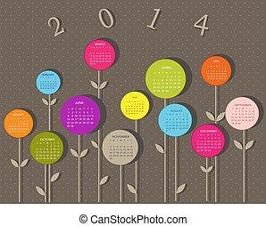 calendario, para, 2014, año, con, flores