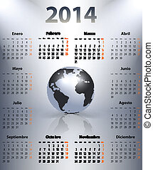 calendario, para, 2014, año, en, español, con, el mundo, globo, en, un, spot., mondays, first., vector, ilustración