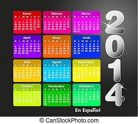 calendario, para, 2014, en, español