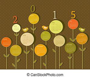 calendario, para, 2015, año, con, flores