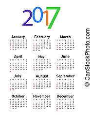 calendario, para, 2017
