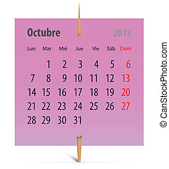 calendario, para, octubre, 2013, en, español