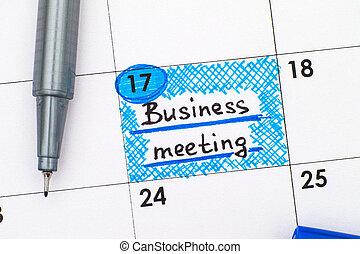 calendario, penna, riunione, promemoria, affari