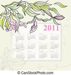 calendario, per, 2011, con, fiori