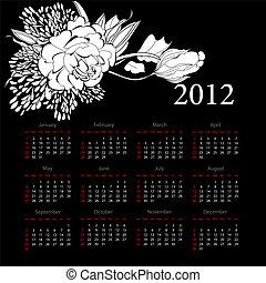 calendario, per, 2012, con, fiori