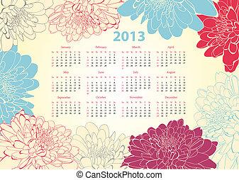 calendario, per, 2013, con, fiori