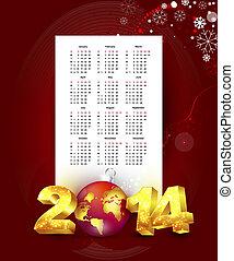 calendario, per, 2014, con, anno nuovo, fondo