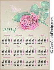 calendario, per, 2014, con, rosa