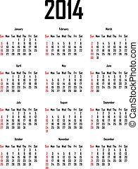calendario, per, 2014