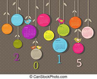 calendario, per, 2015, anno, con, fiori