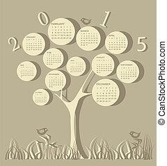 calendario, per, 2015, anno, fatto, di, albero