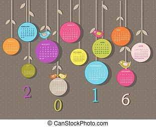 calendario, per, 2016, anno, con, fiori