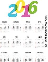 calendario, per, 2016, anno