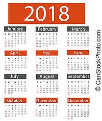 calendario, per, 2018, vettore, illustrazione