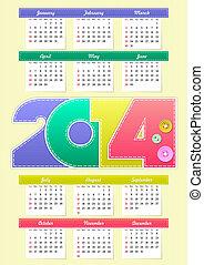 calendario, per, anno, 2014