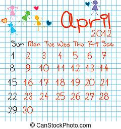 calendario, per, aprile, 2012