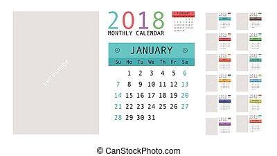 calendario, pianificatore, disegno, 2018
