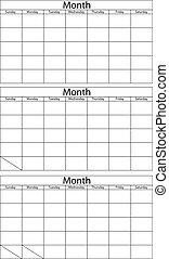 calendario, plantilla, blanco