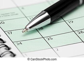 calendario, pluma, página
