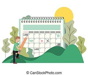 calendario, promemoria, paesaggio, uomo