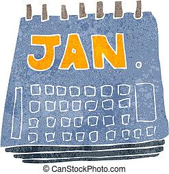 calendario, retro, caricatura