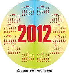 calendario, rotondo, colorito, 2012