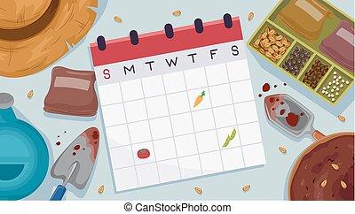 calendario, semi, giardino, illustrazione, piano