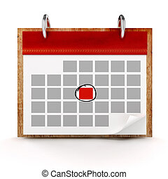 calendario, sfondo bianco, 3d